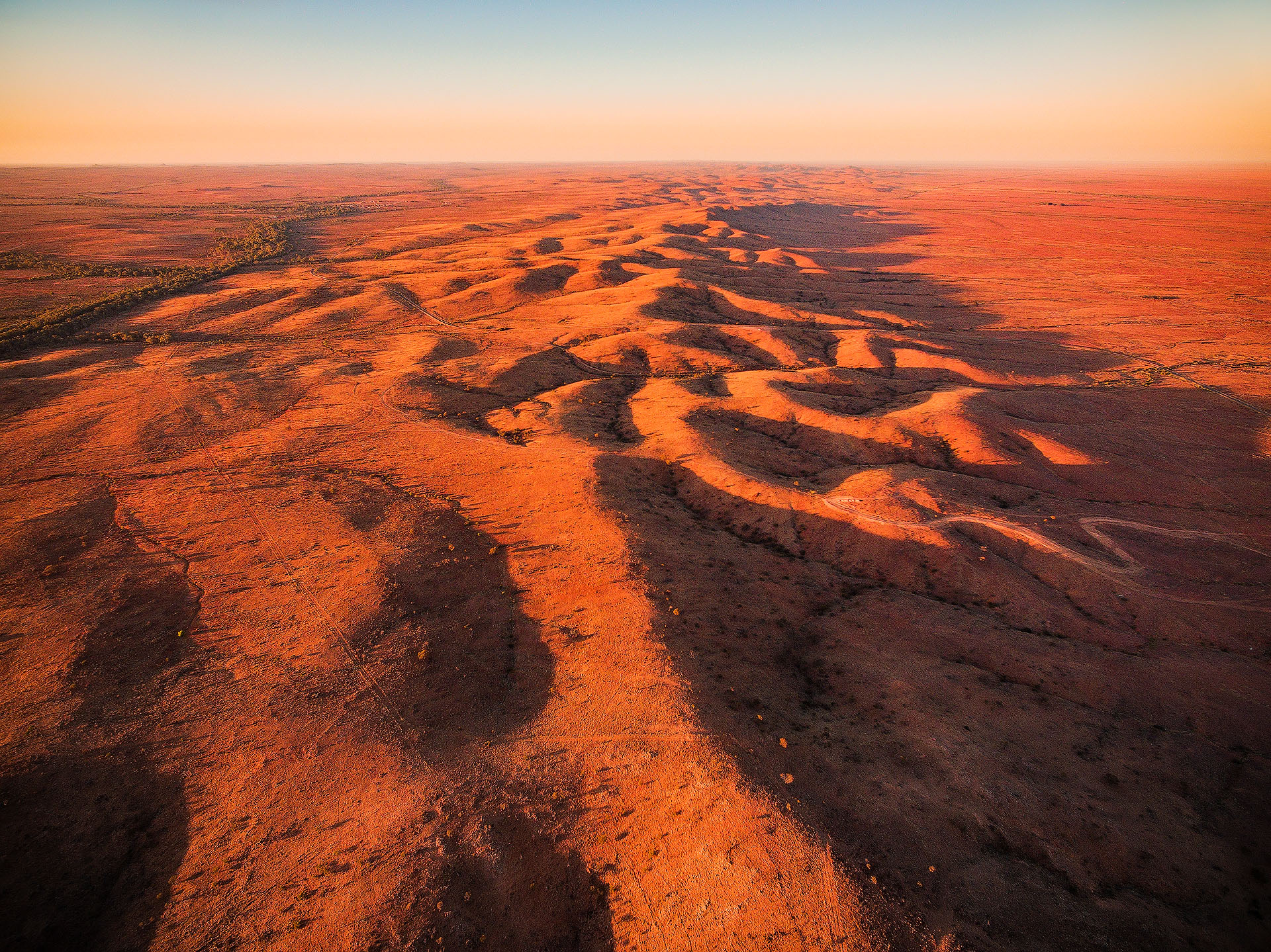 broken hill sunrise aerial new south wales australia outback nsw silverton mundi mundi plains