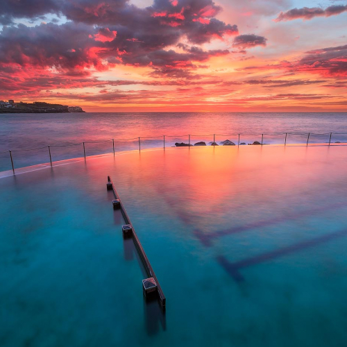 Bronte Baths Sydney Australia Ocean Pool Sunrise