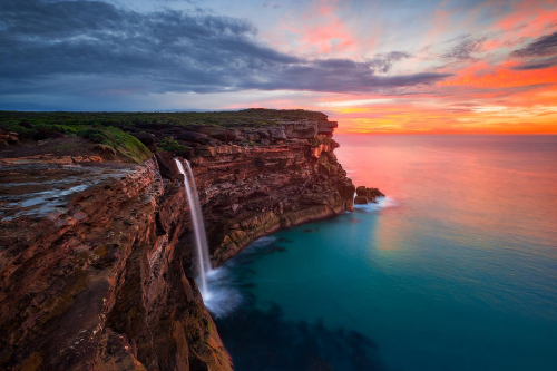 Curracurrong Falls Royal National Park Sunrise Sydney Australia New South Wales Waterfall Ocean