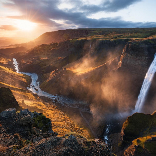 Haifoss Iceland Waterfall Europe Nature Photography Sunset Landscape
