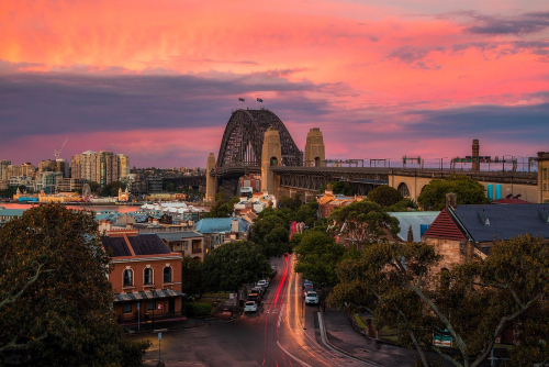 Sydney Sunset Australia New South Wales Harbour Bridge Observatory Hill